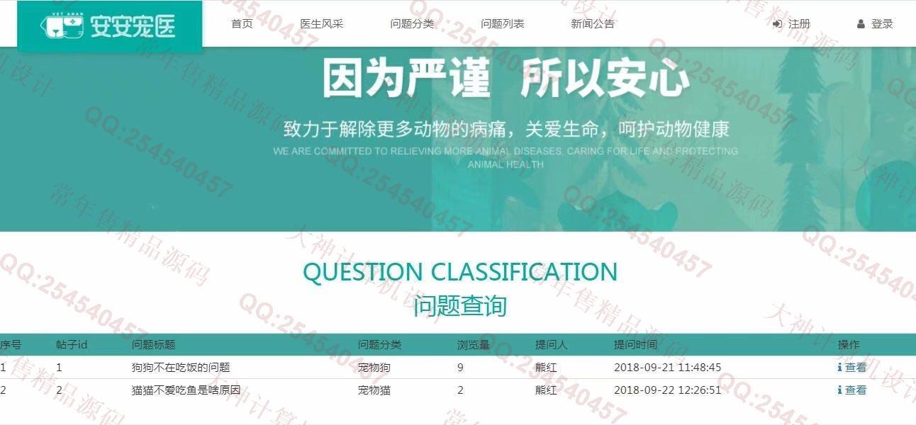 毕业论文课程设计源码实例-966双鱼林JSP基于SSM宠物医生在线答疑网站新版截图