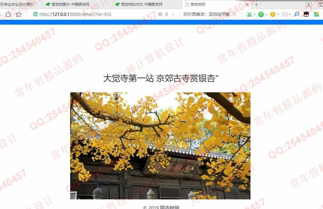 毕业论文课程设计源码实例-1070基于Scrapy框架中国银杏网爬虫数据展示网站设计截图