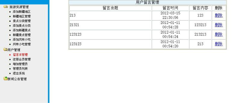 毕业论文课程设计源码实例-PHP_025旅游网资源信息网站截图
